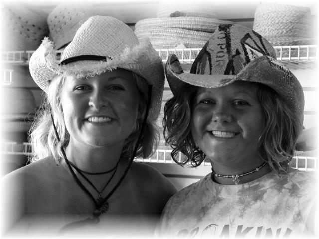 EMAIL.Amber.Angela in HAT Store. MyrtleBeach 6.2003 BlkNWite