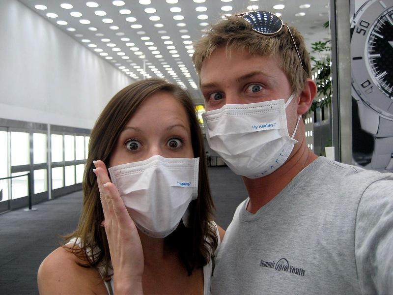 Aaron and Tracy in SwineFlu Masks blog 1